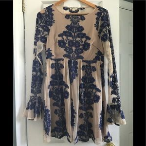 For Love & Lemons Temecula Mini Dress Blue